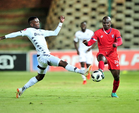 Goodman Dlamini of Free State Stars challenged by Thabang Monare of Bidvest Wits during the Absa Premiership 2018/19 match between Bidvest Wits and Free State Stars at Bidvest Stadium, Johannesburg on 04 August 2018 ©Samuel Shivambu/BackpagePix