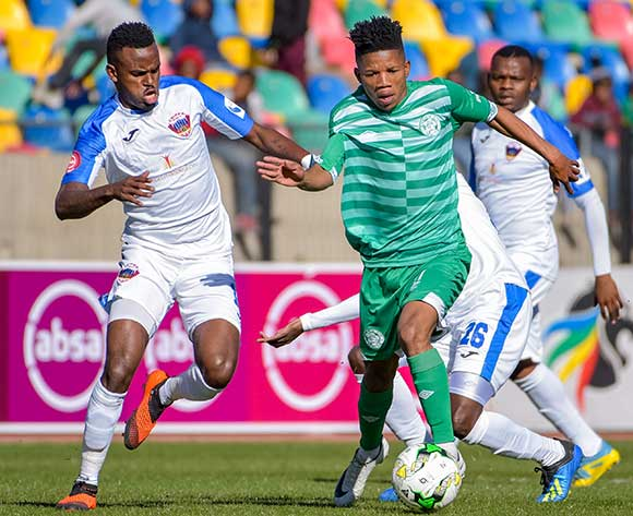 Tebogo Potsane of Bloemfontein Celtic and Jabulani Shongwe of Chippa United during the Absa Premiership 2018/19 game between Bloemfontein Celtic and Chippa United at Dr Molemela Stadium in Bloemfontein on 5 August 2018 © Frikkie Kapp/BackpagePix