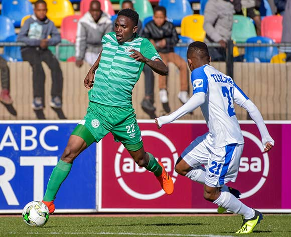 Tshepo Rikhotso of Bloemfontein Celtic and Tebogo Tlolane of Chippa United during the Absa Premiership 2018/19 game between Bloemfontein Celtic and Chippa United at Dr Molemela Stadium in Bloemfontein on 5 August 2018 © Frikkie Kapp/BackpagePix