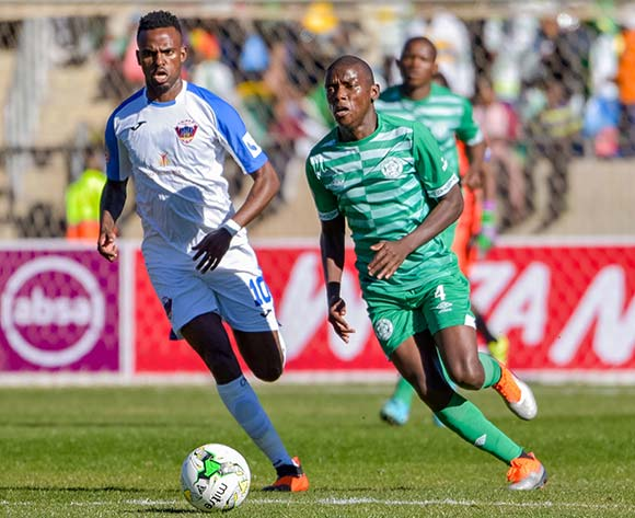 Kabelo Dlamini of Bloemfontein Celtic and Jabulani Shongwe of Chippa United during the Absa Premiership 2018/19 game between Bloemfontein Celtic and Chippa United at Dr Molemela Stadium in Bloemfontein on 5 August 2018 © Frikkie Kapp/BackpagePix