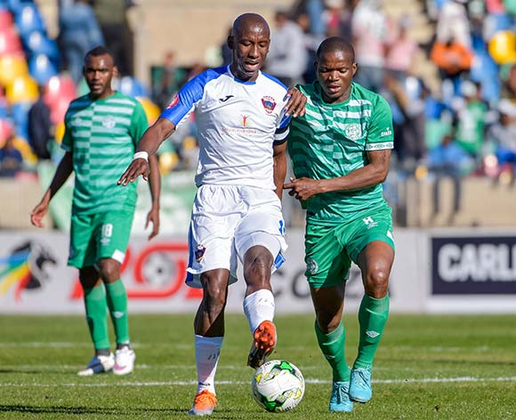 Mark Mayambela of Chippa United and Latshene Phalane of Bloemfontein Celtic during the Absa Premiership 2018/19 game between Bloemfontein Celtic and Chippa United at Dr Molemela Stadium in Bloemfontein on 5 August 2018 © Frikkie Kapp/BackpagePix