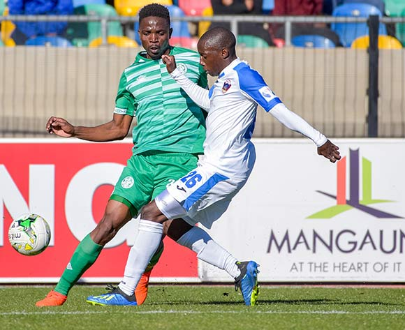Tshepo Rikhotso of Bloemfontein Celtic and Zaphania Mbokoma of Chippa United during the Absa Premiership 2018/19 game between Bloemfontein Celtic and Chippa United at Dr Molemela Stadium in Bloemfontein on 5 August 2018 © Frikkie Kapp/BackpagePix