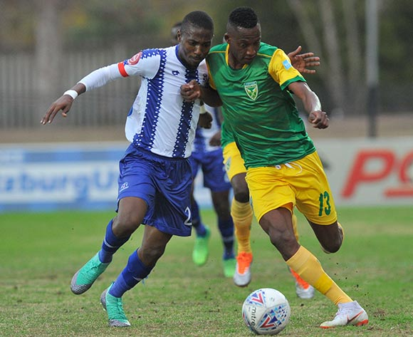Divine Lunga of Golden Arrows is challenged by Bandile Shandu of Maritzburg United   during the Absa Premiership match Maritzburg United and Golden Arrows on the 05 August 2018 at Harry Gwala Stadium Pic Sydney Mahlangu/BackpagePix