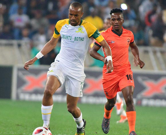 Tiyani Mabunda of Mamelodi Sundowns and Vusimusi Mngomezulu of Polokwane City during the Absa Premiership 2018/19 game between Polokwane City and Mamelodi Sundowns at Peter Mokaba Stadium in Polokwane the on 7 August 2018 © Kabelo Leputu/BackpagePix