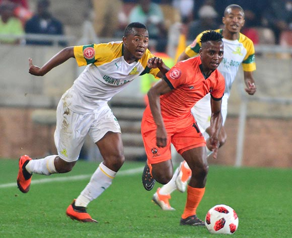 Vusimusi Mngomezulu of Polokwane City and Lebohang Maboe of Mamelodi Sundowns during the Absa Premiership 2018/19 game between Polokwane City and Mamelodi Sundowns at Peter Mokaba Stadium in Polokwane the on 7 August 2018 © Kabelo Leputu/BackpagePix