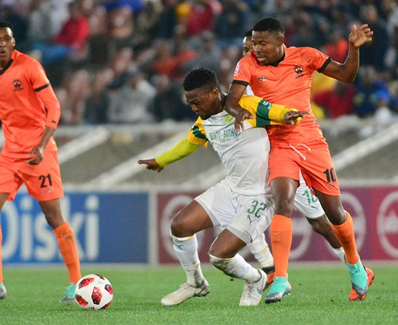 Puleng Tlolane of Polokwane City and Motjeka Madisha of Mamelodi Sundowns during the Absa Premiership 2018/19 game between Polokwane City and Mamelodi Sundowns at Peter Mokaba Stadium in Polokwane the on 7 August 2018 © Kabelo Leputu/BackpagePix