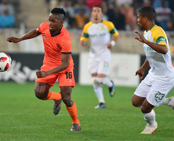 Vusimusi Mngomezulu of Polokwane City and Lyle Lakay of Mamelodi Sundowns during the Absa Premiership 2018/19 game between Polokwane City and Mamelodi Sundowns at Peter Mokaba Stadium in Polokwane the on 7 August 2018 © Kabelo Leputu/BackpagePix