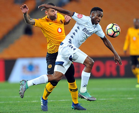 Daniel Cardoso of Kaizer Chiefs tackles Mxolisi Macuphu of Bidvest Wits during the Absa Premiership match between Kaizer Chiefs and Bidvest Wits on the 07 August 2018 at FNB Stadium Pic Sydney Mahlangu/BackpagePix