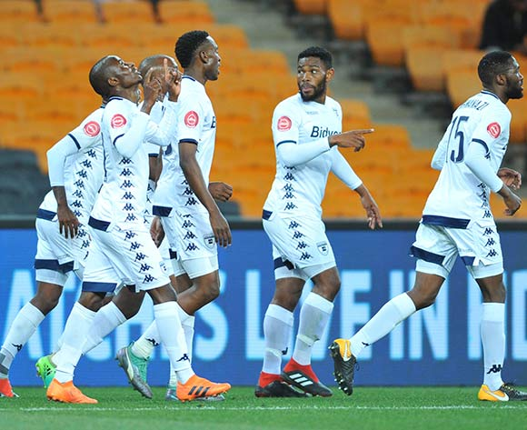 Terrence Dzvukamanja of Bidvest Wits celebrates a goal with teammates during the Absa Premiership match between Kaizer Chiefs and Bidvest Wits on the 07 August 2018 at FNB Stadium Pic Sydney Mahlangu/BackpagePix