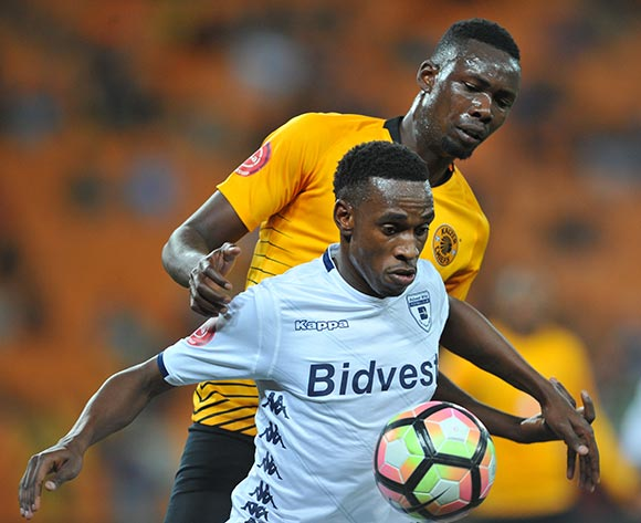 Mxolisi Macuphu of Bidvest Wits is challenged by Erick Mathoho of Kaizer Chiefs during the Absa Premiership match between Kaizer Chiefs and Bidvest Wits on the 07 August 2018 at FNB Stadium Pic Sydney Mahlangu/BackpagePix