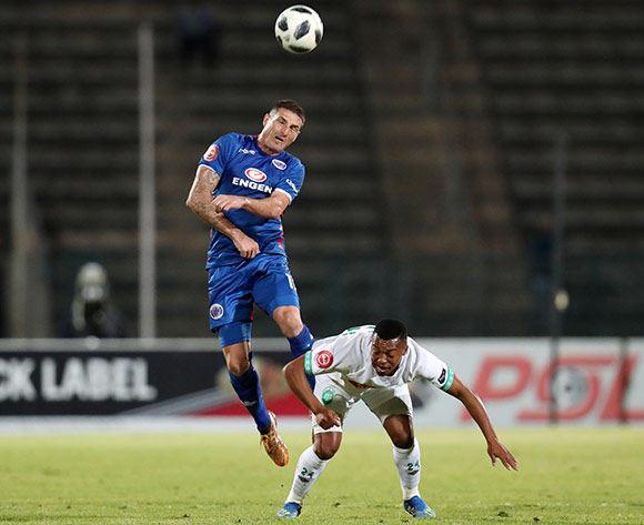 James Keene of Supersport United challenged by Thembela Skhakhane of AmaZulu during the Absa Premiership 2018/19 match between Supersport United and AmaZulu at the Lucas Moripe Stadium, Atteridgeville on 08 August 2018 ©Muzi Ntombela/BackpagePix