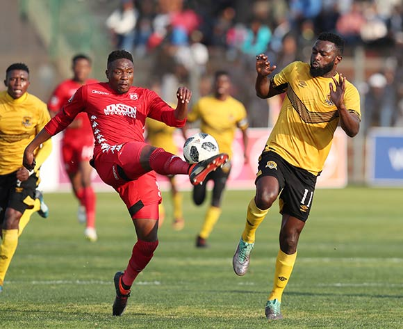 Sello Motsepe of Highlands Park clears ball from Mwape Musonda of Black Leopards during the Absa Premiership 2018/19 match between Highlands Park and Black Leopards at the Makhulong Stadium, Tembisa on 09 August 2018 ©Muzi Ntombela/BackpagePix