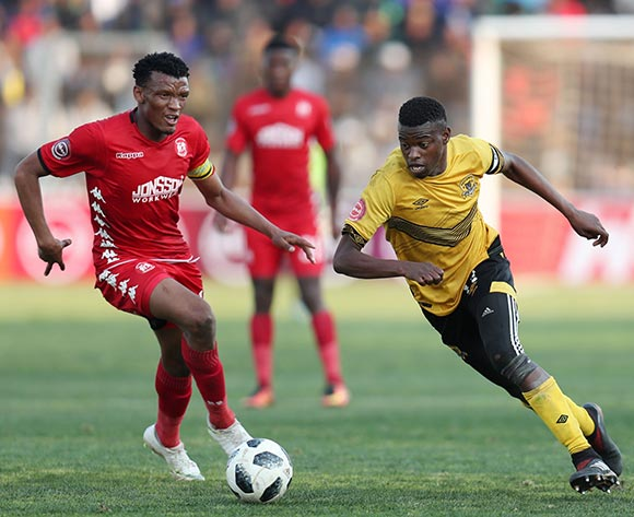 Phathutshedzo Nange of Black Leopards challenged by Mothobi Mvala of Highlands Park during the Absa Premiership 2018/19 match between Highlands Park and Black Leopards at the Makhulong Stadium, Tembisa on 09 August 2018 ©Muzi Ntombela/BackpagePix