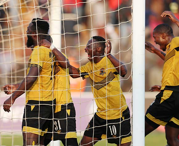 Mwape Musonda of Black Leopards celebrates goal with teammates during the Absa Premiership 2018/19 match between Highlands Park and Black Leopards at the Makhulong Stadium, Tembisa on 09 August 2018 ©Muzi Ntombela/BackpagePix