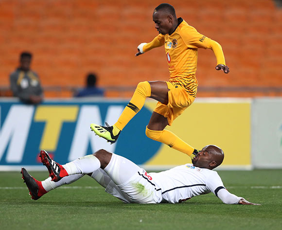Rooi Mahamutsa of Free State Stars tackles Khama Billiat of Kaizer Chiefs during the 2018 MTN8 football match between Kaizer Chiefs and Free State Stars at Soccer City, Johannesburg on 11 August 2018 ©Gavin Barker/BackpagePix