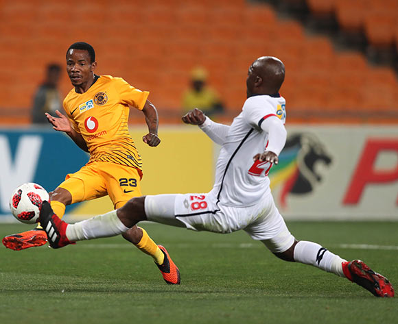 Joseph Molangoane of Kaizer Chiefs shoots, challenged by Rooi Mahamutsa of Free State Stars during the 2018 MTN8 football match between Kaizer Chiefs and Free State Stars at Soccer City, Johannesburg on 11 August 2018 ©Gavin Barker/BackpagePix