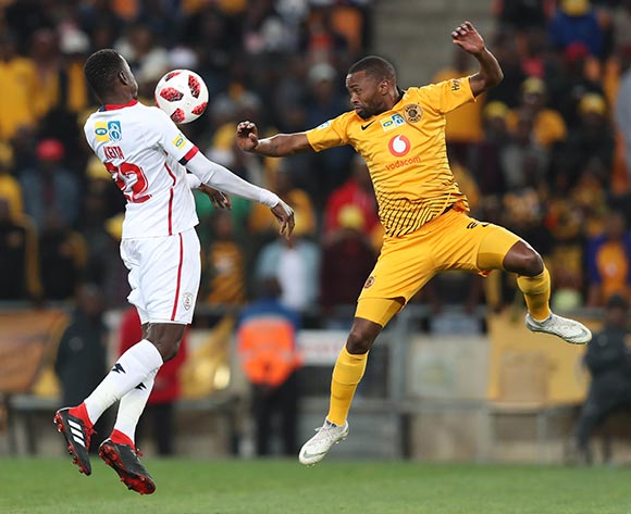 Bangali Keita of Free State Stars clears ball from Bernard Parker of Kaizer Chiefs during the 2018 MTN8 football match between Kaizer Chiefs and Free State Stars at Soccer City, Johannesburg on 11 August 2018 ©Gavin Barker/BackpagePix