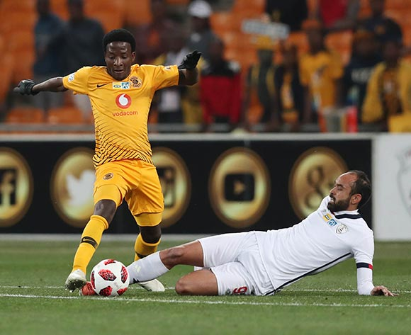 Siphelele Ntshangase of Kaizer Chiefs tackled by Eleazar Rodgers of Free State Stars during the 2018 MTN8 football match between Kaizer Chiefs and Free State Stars at Soccer City, Johannesburg on 11 August 2018 ©Gavin Barker/BackpagePix