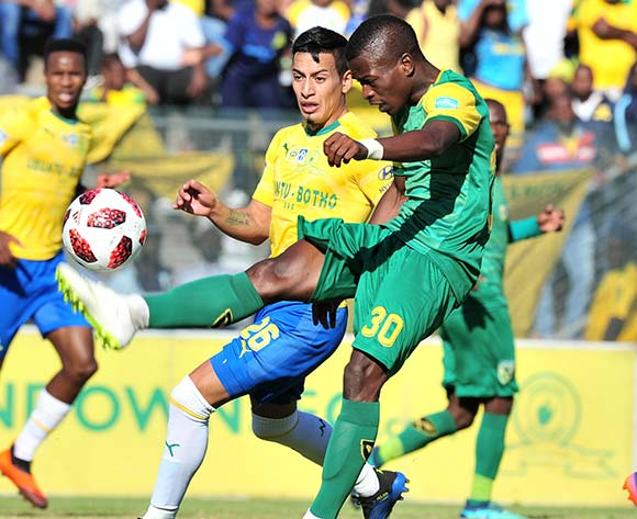 Siboniso Conco of Golden Arrows challenged by Gaston Sirino of Mamelodi Sundowns during the 2018 MTN8 quarter finals match between Mamelodi Sundowns and Golden Arrows at Lucas Moripe Stadium, Pretoria on 11August 2018 ©Samuel Shivambu/BackpagePix