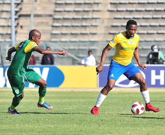 Sibusiso Vilakazi of Mamelodi Sundowns challenged by Danny Venter of Golden Arrows during the 2018 MTN8 quarter finals match between Mamelodi Sundowns and Golden Arrows at Lucas Moripe Stadium, Pretoria on 11August 2018 ©Samuel Shivambu/BackpagePix