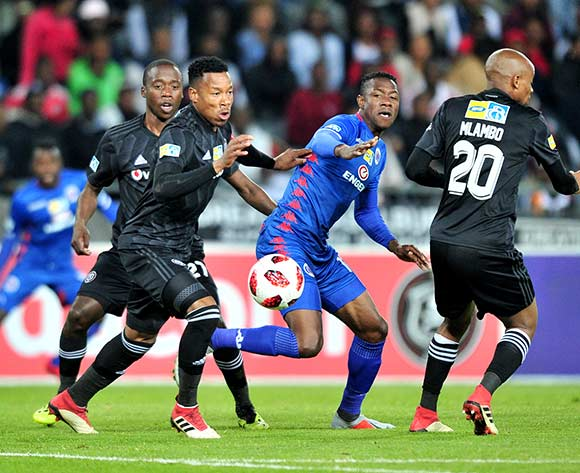 Evans Rusike of Supersport United challenged by Happy Jele of Orlando Pirates during the 2018 MTN8 quarter finals match between Orlando Pirates and Supersport United at Orlando Stadium, Johannesburg on 11 August 2018 ©Samuel Shivambu/BackpagePix