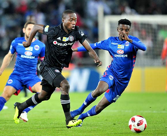 Ben Motshwari of Orlando Pirates challenged by Tebogo Mokoena of Supersport United during the 2018 MTN8 quarter finals match between Orlando Pirates and Supersport United at Orlando Stadium, Johannesburg on 11 August 2018 ©Samuel Shivambu/BackpagePix