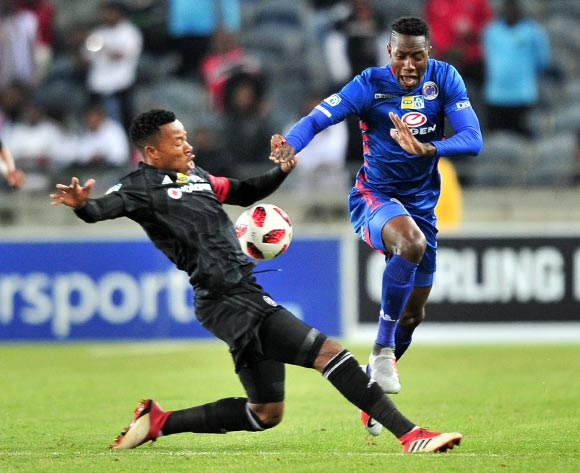 Evans Rusike of Supersport United tackled by Happy Jele of Orlando Pirates during the 2018 MTN8 quarter finals match between Orlando Pirates and Supersport United at Orlando Stadium, Johannesburg on 11 August 2018 ©Samuel Shivambu/BackpagePix