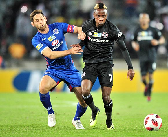Kudakwashe Mahachi of Orlando Pirates challenged by Dean Furman of Supersport United during the 2018 MTN8 quarter finals match between Orlando Pirates and Supersport United at Orlando Stadium, Johannesburg on 11 August 2018 ©Samuel Shivambu/BackpagePix