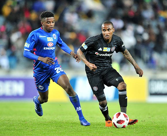 Thembinkosi Lorch of Orlando Pirates challenged by Tebogo Mokoena of Supersport United during the 2018 MTN8 quarter finals match between Orlando Pirates and Supersport United at Orlando Stadium, Johannesburg on 11 August 2018 ©Samuel Shivambu/BackpagePix