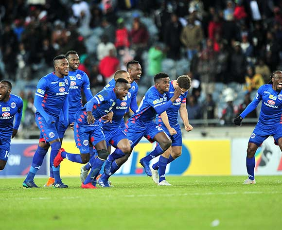 Supersport United players celebrates winning on penalties during the 2018 MTN8 quarter finals match between Orlando Pirates and Supersport United at Orlando Stadium, Johannesburg on 11 August 2018 ©Samuel Shivambu/BackpagePix