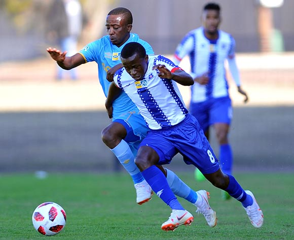 Siphesihle Ndlovu of Maritzburg United is challenged by Thabo Nodada of Cape Town City during the MTN 8 Quarter final match between Maritzburg United and Cape Town City on the 12 August 2018 at Harry Gwala Stadium Pic Sydney Mahlangu/BackpagePix