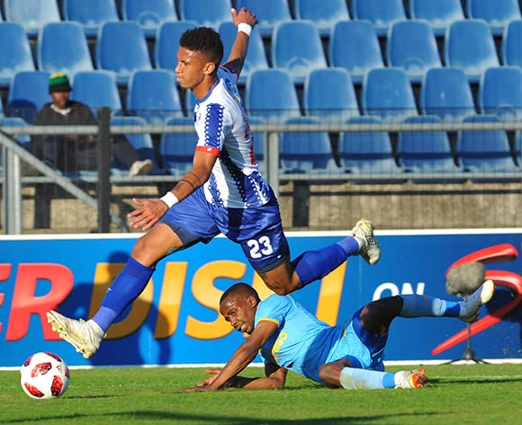 Rushine De Reuck of Maritzburg United challenges Thabo Nodada of Cape Town City during the MTN 8 Quarter final match between Maritzburg United and Cape Town City on the 12 August 2018 at Harry Gwala Stadium Pic Sydney Mahlangu/BackpagePix