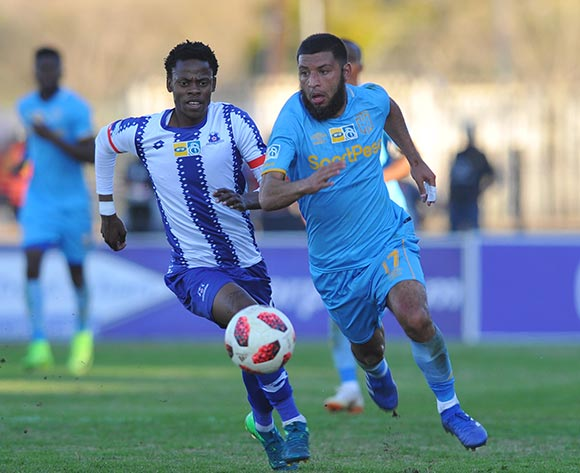 Riyaad Norodien of Cape Town City is challenged by Tlou Masegela of Maritzburg United  during the MTN 8 Quarter final match between Maritzburg United and Cape Town City on the 12 August 2018 at Harry Gwala Stadium Pic Sydney Mahlangu/BackpagePix