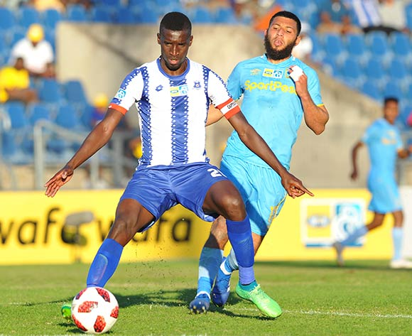 Riyaad Norodien of Cape Town City challenges Siyanda Xulu of Maritzburg United during the MTN 8 Quarter final match between Maritzburg United and Cape Town City on the 12 August 2018 at Harry Gwala Stadium Pic Sydney Mahlangu/BackpagePix