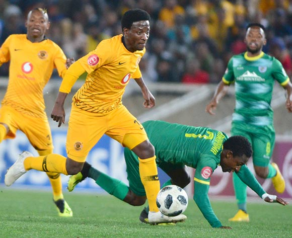 Siphelele Ntshangase of Kaizer Chiefs wins the ball from Talent Chawapiwa of Baroka FC during the Absa Premiership 2018/19 game between Baroka FC and Kaizer Chiefs at Peter Mokaba Stadium in Polokwane the on 14 August 2018 © Kabelo Leputu/BackpagePix