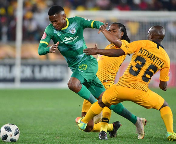 Mpho Kgaswane of Baroka FC challenged by Siphosakhe Ntiyantiya and Siphiwe Tshabalala of Kaizer Chiefs during the Absa Premiership 2018/19 game between Baroka FC and Kaizer Chiefs at Peter Mokaba Stadium in Polokwane the on 14 August 2018 © Kabelo Leputu/BackpagePix