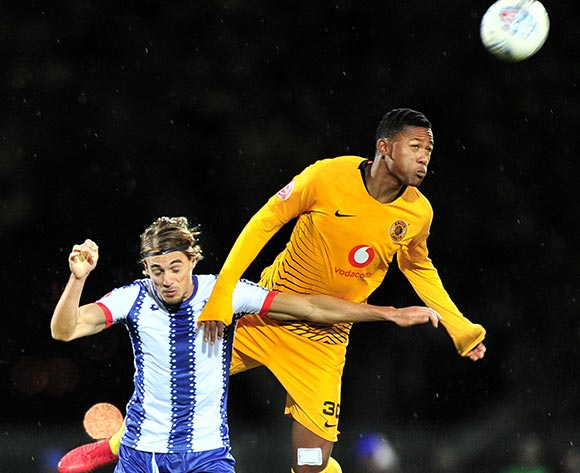 Siyabonga Ngezana of Kaizer Chiefs challenged by Andrea Fileccia of Maritzburg United during the Absa Premiership 2018/19 match between Maritzburg United and Kaizer Chiefs at Harry Gwala Stadium, Pietermaritzburg on 17 August 2018 ©Samuel Shivambu/BackpagePix