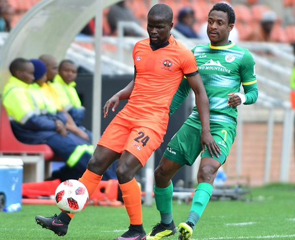 Simphiwe Hlongwane of Polokwane City and Talent Chawapihwa of Baroka FC during the Absa Premiership 2018/19 game between Polokwane City and Baroka FC at Peter Mokaba Stadium in Polokwane the on 18 August 2018 © Kabelo Leputu/BackpagePix