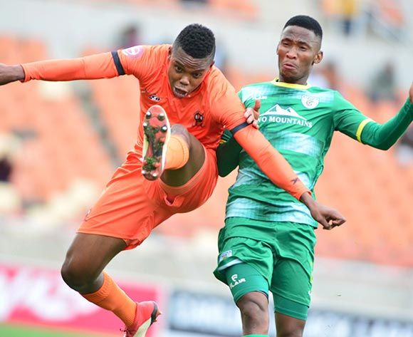 Nicholas Motloung of Polokwane City and Mpho Kgaswane of Baroka FC during the Absa Premiership 2018/19 game between Polokwane City and Baroka FC at Peter Mokaba Stadium in Polokwane the on 18 August 2018 © Kabelo Leputu/BackpagePix