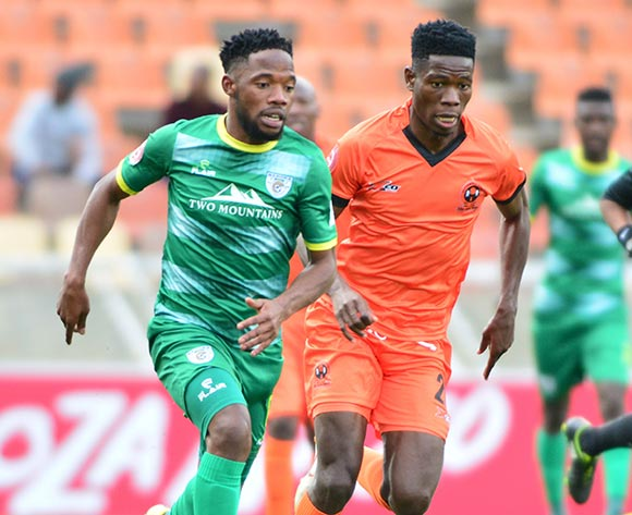 Mdududzi Mdantsane of Baroka FC and Nicholas Motloung of Polokwane City during the Absa Premiership 2018/19 game between Polokwane City and Baroka FC at Peter Mokaba Stadium in Polokwane the on 18 August 2018 © Kabelo Leputu/BackpagePix