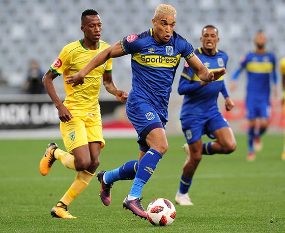 Matthew Rusike of Cape Town City pulls away from Divine Lunga of Golden Arrows during the Absa Premiership 2018/19 game between Cape Town City and Golden Arrows at Cape Town Stadium on 18 August 2018 © Ryan Wilkisky/BackpagePix