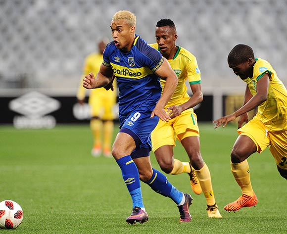 Matthew Rusike of Cape Town City pulls away from Divine Lunga and Thabo Molefe of Golden Arrows during the Absa Premiership 2018/19 game between Cape Town City and Golden Arrows at Cape Town Stadium on 18 August 2018 © Ryan Wilkisky/BackpagePix