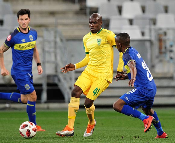 Lerato Lamola of Golden Arrows gets his pass away as he is challenged by Thabo Nodada of Cape Town City during the Absa Premiership 2018/19 game between Cape Town City and Golden Arrows at Cape Town Stadium on 18 August 2018 © Ryan Wilkisky/BackpagePix