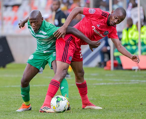 Kabelo Dlamini of Bloemfontein Celtic and Xola Mlambo of Orlando Pirates during the Absa Premiership 2018/19 game between Bloemfontein Celtic and Orlando Pirates at Toyota Free State Stadium in Bloemfontein on 19 August 2018 © Frikkie Kapp/BackpagePix