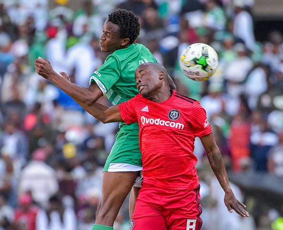 Thabo Matlaba of Orlando Pirates and Bongani Sam of Bloemfontein Celtic during the Absa Premiership 2018/19 game between Bloemfontein Celtic and Orlando Pirates at Toyota Free State Stadium in Bloemfontein on 19 August 2018 © Frikkie Kapp/BackpagePix