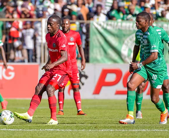 Ben Motshwari of Orlando Pirates and Ndumiso Mabena of Bloemfontein Celtic during the Absa Premiership 2018/19 game between Bloemfontein Celtic and Orlando Pirates at Toyota Free State Stadium in Bloemfontein on 19 August 2018 © Frikkie Kapp/BackpagePix
