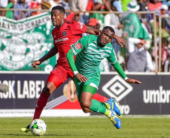 Alfred Ndengane of Bloemfontein Celtic and Thamsanqa Gabuza of Orlando Pirates during the Absa Premiership 2018/19 game between Bloemfontein Celtic and Orlando Pirates at Toyota Free State Stadium in Bloemfontein on 19 August 2018 © Frikkie Kapp/BackpagePix