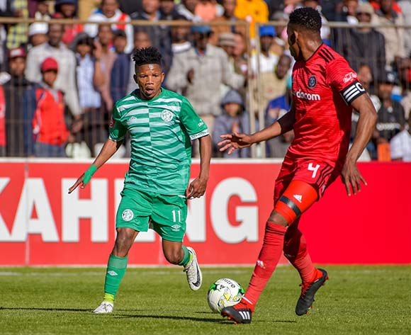 Tebogo Potsane of Bloemfontein Celtic and Happy Jele of Orlando Pirates during the Absa Premiership 2018/19 game between Bloemfontein Celtic and Orlando Pirates at Toyota Free State Stadium in Bloemfontein on 19 August 2018 © Frikkie Kapp/BackpagePix