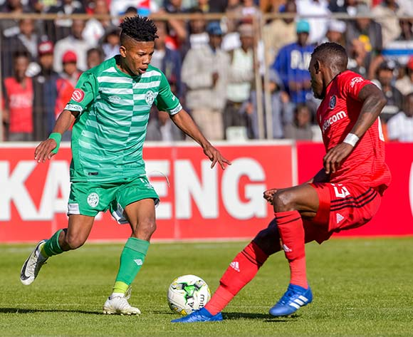 Tebogo Potsane of Bloemfontein Celtic and Innocent Maela of Orlando Pirates during the Absa Premiership 2018/19 game between Bloemfontein Celtic and Orlando Pirates at Toyota Free State Stadium in Bloemfontein on 19 August 2018 © Frikkie Kapp/BackpagePix