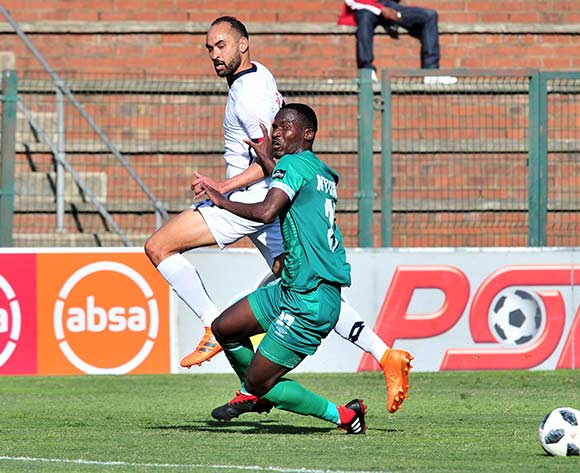 Eleazar Rodgers of Free State Stars challenged by Tapelo Nyongo of AmaZulu during the Absa Premiership 2018/19 match between AmaZulu and Free State Stars at King Zwelithini Stadium, Durban on 19 August 2018 ©Samuel Shivambu/BackpagePix